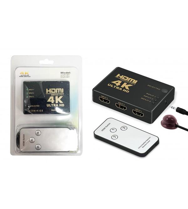 PL-7229 HDMI SWITCH 3 TO 1 4K ULTRA HD SPLITTER