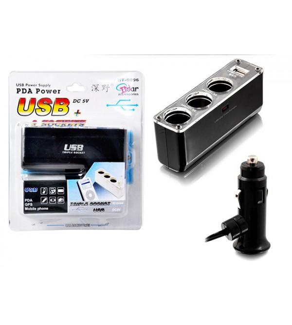 PL-8988 3'LÜ ÇAKMAK SOKET ÇOĞALTICI+USB GİRİ...